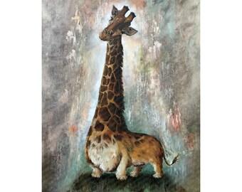 Unnatural Selection I - Corgiraffe - Cute Corgi Giraffe Mashup - Print Poster Canvas - Funny Artwork for Animal Lover Corgie Painting