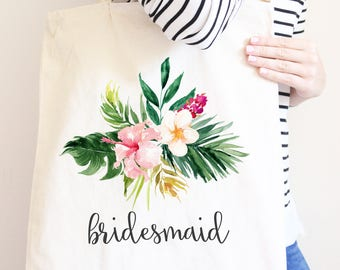 Bridesmaid Canvas Tote Bag, Summer Tropical Flowers