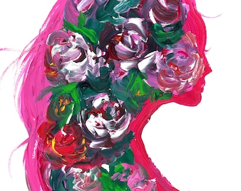Roses Within, print from original mixed media fashion illustration by Jessica Durrant