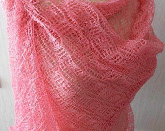 Linen Scarf Lace Shawl Knitted Natural Summer Wrap in Pink