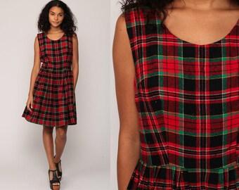 1960s Mod Dress Plaid Jumper Dress 60s Mini High Waist Pinafore Pleated Vintage Sleeveless Red Green Minidress Twiggy Medium