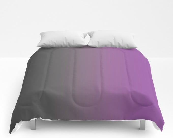 Ombre Comforter - Gray to Purple - Bed Cover - Bedding - King - Queen - Full - Made to Order