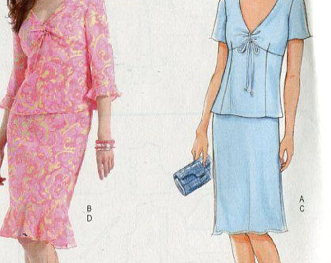 FREE US SHIP Butterick 4528 Maggy London Empire Top Skirt 2005 Out of Print Size 8 10 12 14 Bust 31 32 34 36