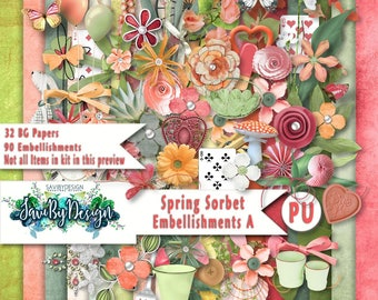 Digital Scrapbooking Kit, SPRING SORBET Spring flowers leaves and an array of gorgeous pastel embies 32 background papers