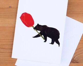 Card - Bear Flower