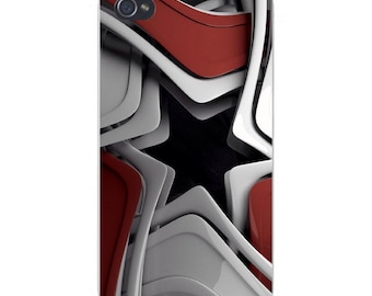 Apple iPhone Custom Case White Plastic Snap on - Star Center w/ Abstract Shapes Border 7913