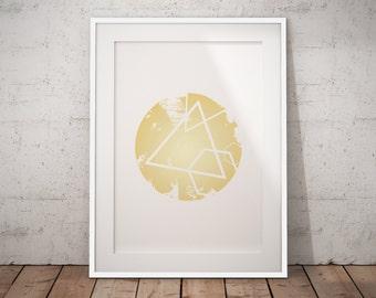 Gold Nursery Wall Decor, Gold Nursery Art Print, Gold Geometric Decor, Gold Geometric Poster, Minimalist Geometric Art Print, Geometric Art