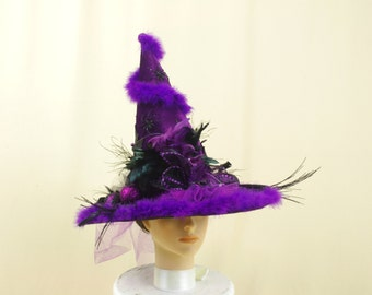 Purple Witch Hat, Halloween Costume, Wicca Witch Hat, Halloween Decoration, Witch Decor, Wicked Witch, Elegant Witch Hat, Purple and Black