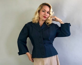 "Vintage 1950s Blazer | 50s Mid Century Prussian Blue Silk & Wool Jacket with Shawl Collar and Bracelet Length Sleeves by ""Kraeler"" 