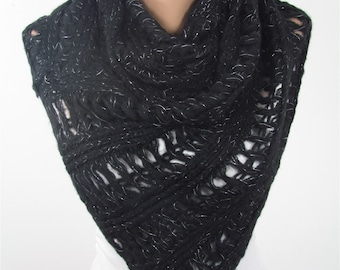 Mothers Day Gift For Her Infinity Scarf Knitted Scarf Circle Black Scarf Ascot Neck Warmer Cozy Loop Scarf    Winter Scarf ScarfClub Holiday
