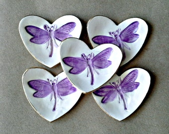 FIVE itty bitty Heart Ring Bowls Purple Dragonfly OFF WHITE edged in gold  bridal Shower favor
