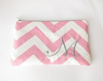 Monogram Make up Bag - M pouch - Ready to Ship - Bridesmaid Makeup bag - Cosmetic bag - Make up Clutch - Monogrammed Gift - Medium