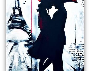 Romantic Painting, Paris Inspired Original Painting, Travel Art by Lana Moes, Large Art, Custom Art, Romantic Home Decor, Parisian Interior