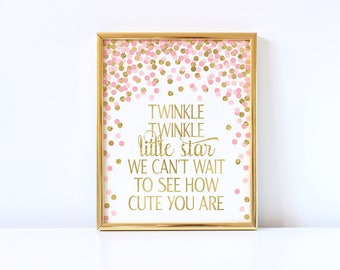 Twinkle Twinkle Little Star We Can't Wait To See How Cute You Are Sign Girl Baby Shower Sign Pink And Gold Confetti Decorations