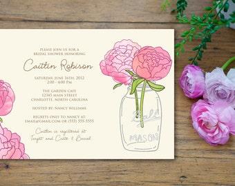 Mason Jar Pink Peony Flower Bridal Shower Invitation - customized 5x7 printable - rustic flower print bridal shower invites
