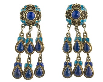 Vintage Chinese silver vermeil filigree enamel and lapis lazuli dangle earrings. eror480(e)