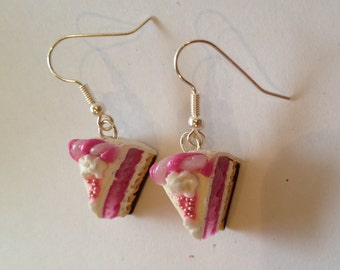 Earrings Cake piece pink with marzipan decoration, miniature food