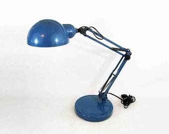 Vintage Spring Arm Task Lamp in Blue. Circa 1970's.