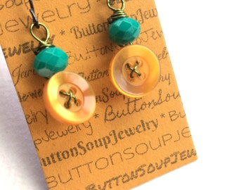 Fun Button Earrings with orange, teal, chartreuse