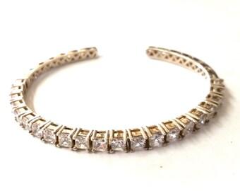 Silpada Sterling Silver CZ Flexible Cuff Bracelet
