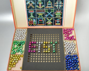 Record-Mosaic Vintage Toy Marble Set, 1940s Toys, Western Germany Toys Games, Colorful Children's Game