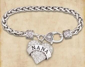 Nana Rhinestone Heart Charm Bracelet