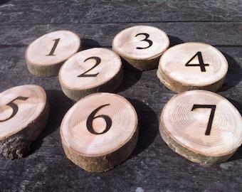 Rustic Hardwood Table Number Log Slices 9-12x2Cm