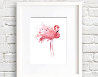 Flamingos - Flamingo Art Print - Wall Decor - Watercolor Painting