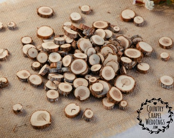 100 Small Wood Slices~ 0.5 to 1.25 inch~ Tree Slice Assortment ~ Summer Wedding ~ Wood Confetti ~ Fall Wedding ~ Vase Filler ~ Wedding Decor