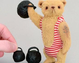 Strong Arnold. Teddy Bear (4.3'') OOAK