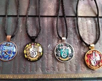 Harry Potter Hogwarts House Cameo Pendants