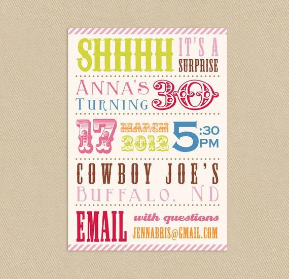 Items Similar To Printable Surprise Birthday Party