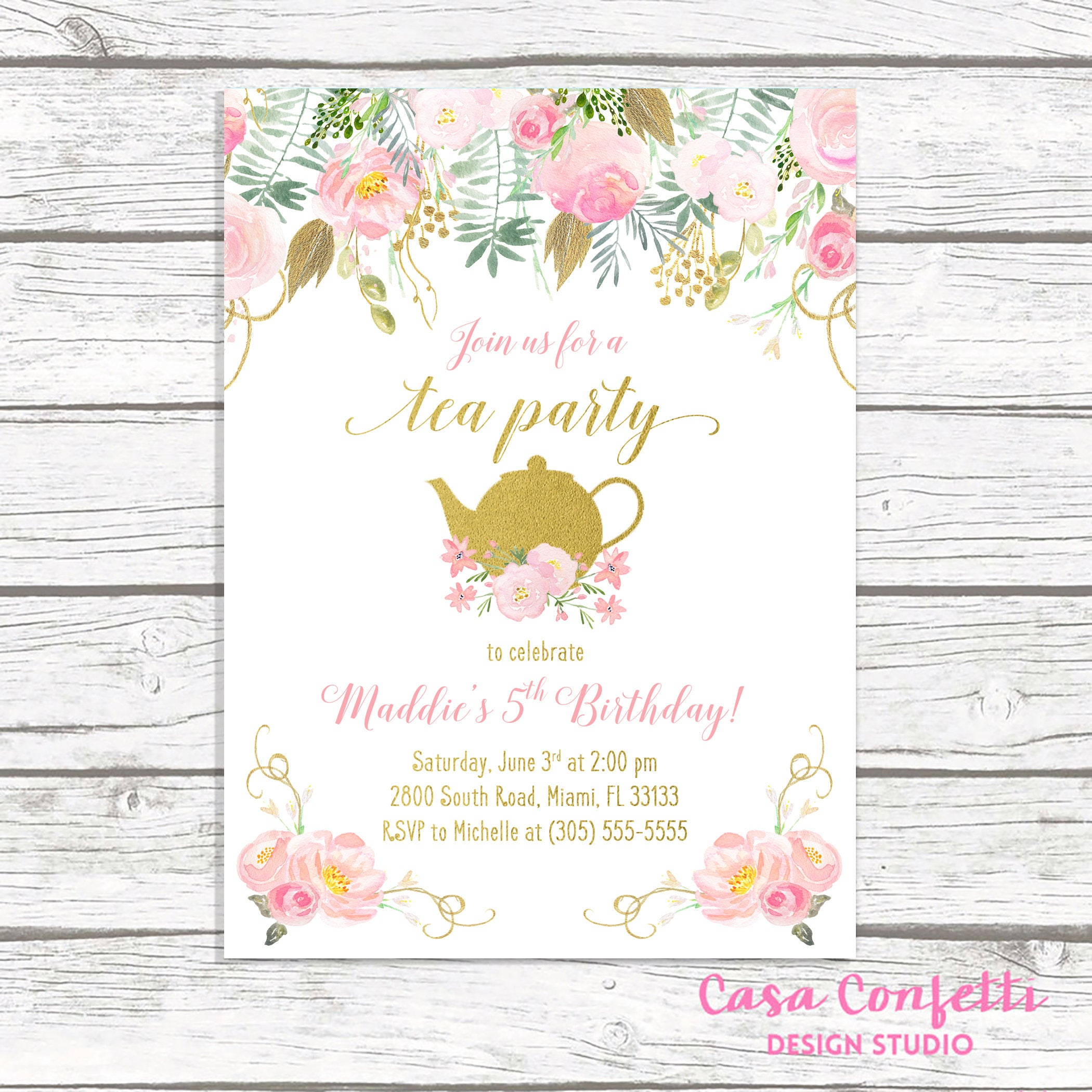 Favorite Tea Party Birthday Invitation, Tea Party Invitation, Pink and Gold  NG71