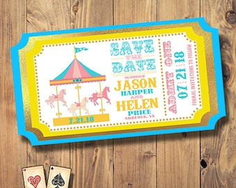Love Carousel Ticket Save the Date, Ticket, Wedding Set, Engagement, Carnival Save the Date, Circus Baby Shower, County Fair Party Printable