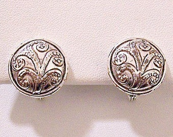Napier Dotted Tree Buttons Clip On Earrings Silver Tone Plated Vintage Round Domed Rimmed Edge Raised Layered Design