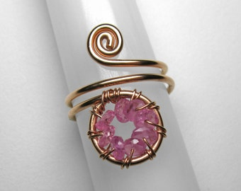 Pink Sapphire Knuckle Ring in Rose Gold