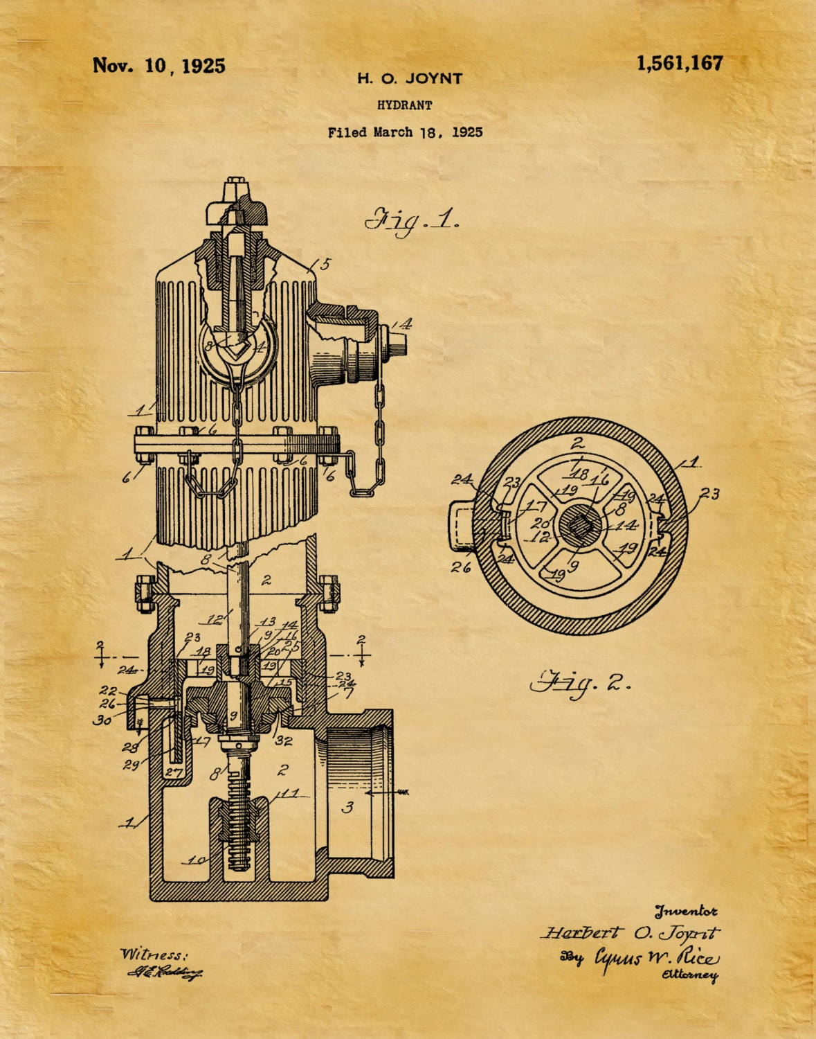 1925 Fire Hydrant Patent Print - Poster - Firehouse Decor ...