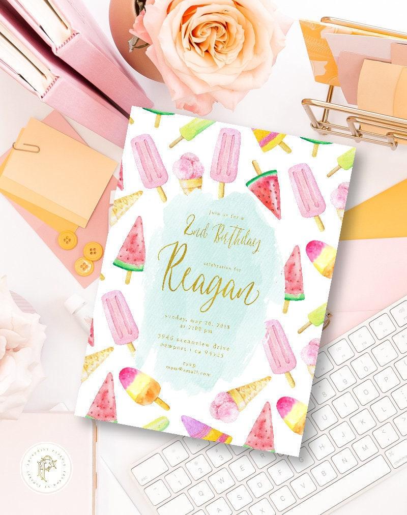 Watermelon invitation - Watermelon Birthday Invitation - Ice Cream ...