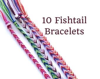 10 String Bracelets, Friendship Bracelets, Fishtail Bracelets, Thread Bracelets, Boho Bracelets, Bulk Bracelets, String Friendship Bracelets
