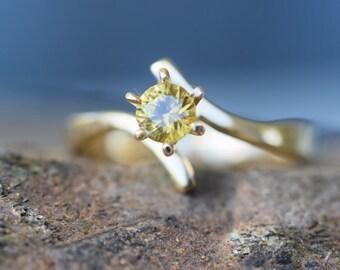 Australian yellow sapphire engagement ring,  Round brilliant, high set bypass ring, genuine 14K gold, yellow ring