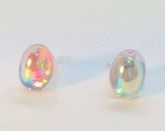 Vintage crystal studs earrings rainbow AB glass sterling silver aurora borealis Czech mum mom gift pastels wedding bride bridesmaid