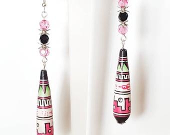 Pink Peru Southwest Dangle ceramic Earrings Vintage handpainted beaded Earrings Boho Earrings Gift for Her under 20