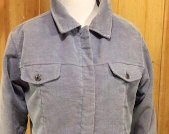 90s Coat Corduroy Fleece Lined White Sierra Sporty Ice Blue Winter Jacket