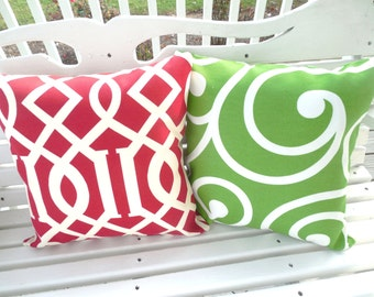 Christmas Outdoor Pillow Cover Red Green Holiday Cushion Decorative Throw Pillow Patio Porch Outdoor Decor