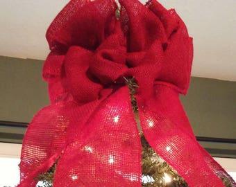 Burlap Christmas Tree Topper Bow, Handmade Topper Bow, Tree Bow, Red Burlap Bow, Rustic Christmas, Country Christmas