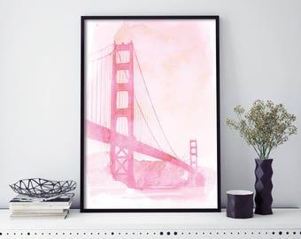 Golden Gate Bridge, San Francisco  Watercolour Print Wall Art | 4x6 5x7 A4 A3 A2