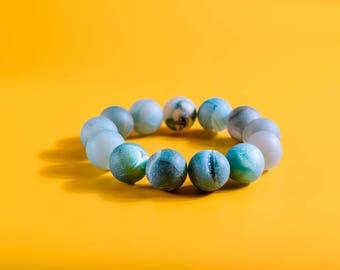 Blue Quartz Bracelet, Blue Crackled Quartz Bead, Valentine's Gift, Sparkly Quartz, Romantic Gift, Charity Bracelet, Charity Donation