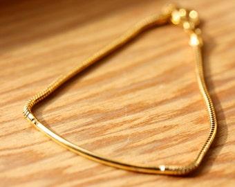 Bar Bracelet Gold, Small Gold Bar Bracelet, Bar Chain Bracelet, Gold Chain Bracelet, Layering Bracelet, Gold Clasp Bracelet, Small Bracelet