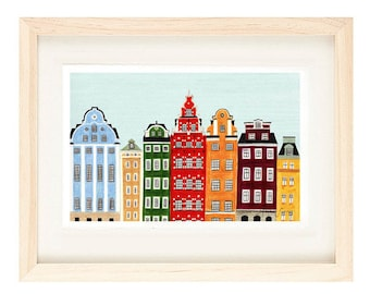 STOCKHOLM, SWEDEN - Buildings Scandinavian Design Colorful Illustration 11 x 17 Art Print For Nursery, Home Decor, Wall Decoration