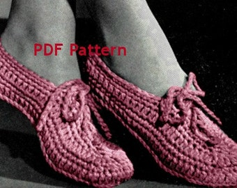 Women's Slipper with Tie, Vintage 1940s Crochet Pattern, Instant PDF, Digital Download